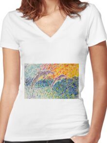 Dolphins Dancing at Sunrise Women's Fitted V-Neck T-Shirt