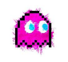 Pacman 8Bit Ghost (Pinky) Photographic Print