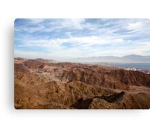 The colourful Eilat mountain range The gulf of Aqaba in the background  Canvas Print