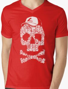 Pokemon Skull Pattern Mens V-Neck T-Shirt