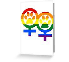 Lesbian rainbow kitty paws Greeting Card