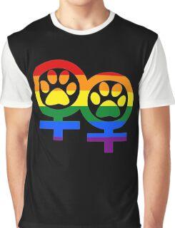 Lesbian rainbow kitty paws Graphic T-Shirt