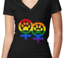 Lesbian rainbow kitty paws Women's Fitted V-Neck T-Shirt