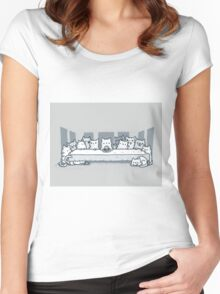 Kitty last supper Women's Fitted Scoop T-Shirt