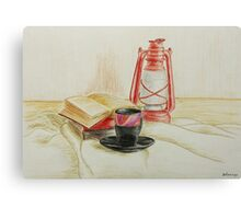 Still life with red oil lamp Canvas Print