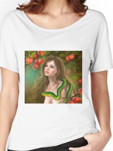 Apple temptation. Beautiful woman Eve and snake. Young woman and apple. Illustration. Women's Relaxed Fit T-Shirt