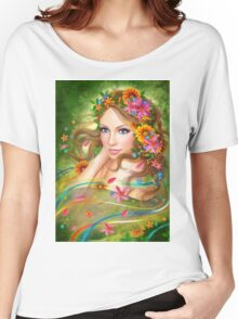 Fantasy Beautiful fairy woman with summer flowers. nature. fashion portrait  Women's Relaxed Fit T-Shirt