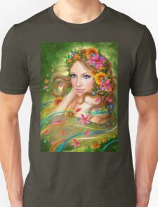 Fantasy Beautiful fairy woman with summer flowers. nature. fashion portrait  Unisex T-Shirt