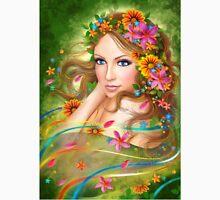 Fantasy Beautiful fairy woman with summer flowers. nature. fashion portrait  Unisex T-Shirt
