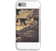Francis Barlow  Title A Roller, Two Peregrine Falcons and a Long-Eared Owl with her Young iPhone Case/Skin