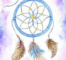 Watercolor Dream Catcher Boho Style by kisikoida