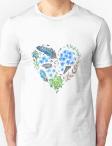 Boho Style Watercolor Heart Shape T-Shirt