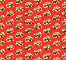 Burger Pattern Red by Lucy Lier