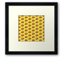 Burger Pattern Yellow Framed Print