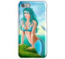Fantasy beautiful young woman mermaid in sea iPhone Case/Skin