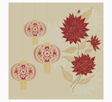 Chinese Lantern with Flowers 4 Kids Tee