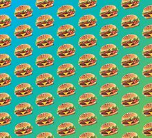 Burger Pattern Blue by Lucy Lier