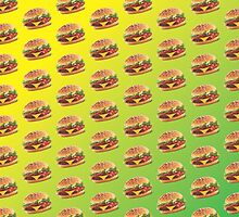Burger Pattern Green by Lucy Lier