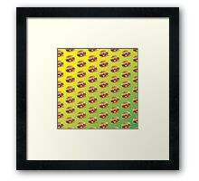 Burger Pattern Green Framed Print