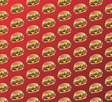 Burger Pattern Dark Red by Lucy Lier