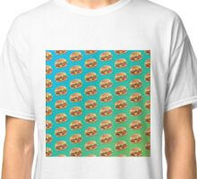 Burger Pattern Blue Classic T-Shirt