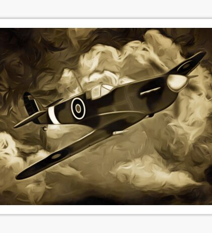A digital painting as an old print of A Supermarine Spitfire Sticker