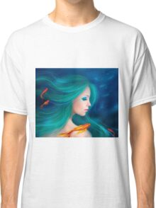 Illustration fantasy sea mermaid with red fishes Classic T-Shirt