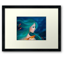 Illustration fantasy sea mermaid with red fishes Framed Print