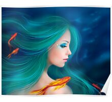 Illustration fantasy sea mermaid with red fishes Poster