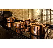 Copper pans on the stove Photographic Print