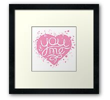Hand drawn pink painted heart . Framed Print