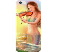 Beautiful  fantasy mermaid plays on violin on sunset iPhone Case/Skin