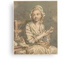 French School 18th century The Wool Winder Canvas Print