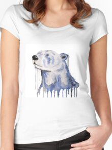 Melting Polar Bear Blue Bear Painting Women's Fitted Scoop T-Shirt