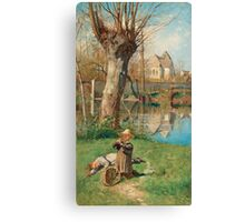 GEORG PAULI, PASTORAL SCENE ON THE BANK OF THE LOING Canvas Print