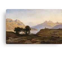Georg Saal, A Mountainous Landscape with a Lake Canvas Print