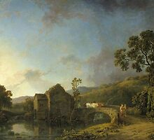 George Barret Senior  Title River Scene with Watermill, Figures and Cows by Adam Asar