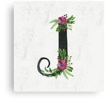 Monogram J with Floral Wreaths Canvas Print