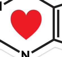 Caffeine molecule with red love heart Sticker