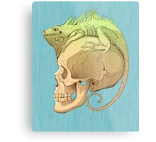 colorful illustration with iguana and skull Metal Print