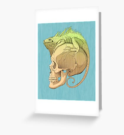 colorful illustration with iguana and skull Greeting Card