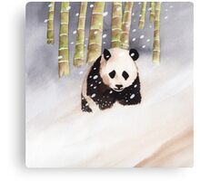 Panda In The Snow Canvas Print