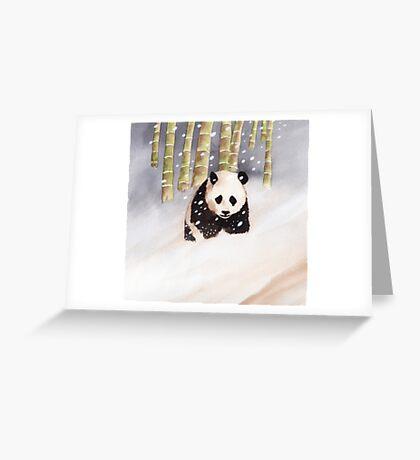 Panda In The Snow Greeting Card