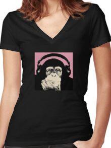 Monkey Music Women's Fitted V-Neck T-Shirt