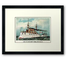 Armoured steel cruiser New York, United States Navy - 1893 - Currier & Ives Framed Print