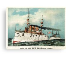 Armoured steel cruiser New York, United States Navy - 1893 - Currier & Ives Canvas Print