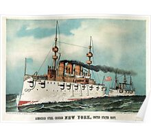Armoured steel cruiser New York, United States Navy - 1893 - Currier & Ives Poster