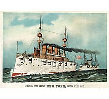 Armoured steel cruiser New York, United States Navy - 1893 - Currier & Ives Photographic Print