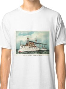 Armoured steel cruiser New York, United States Navy - 1893 - Currier & Ives Classic T-Shirt