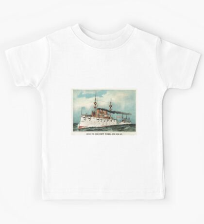 Armoured steel cruiser New York, United States Navy - 1893 - Currier & Ives Kids Tee